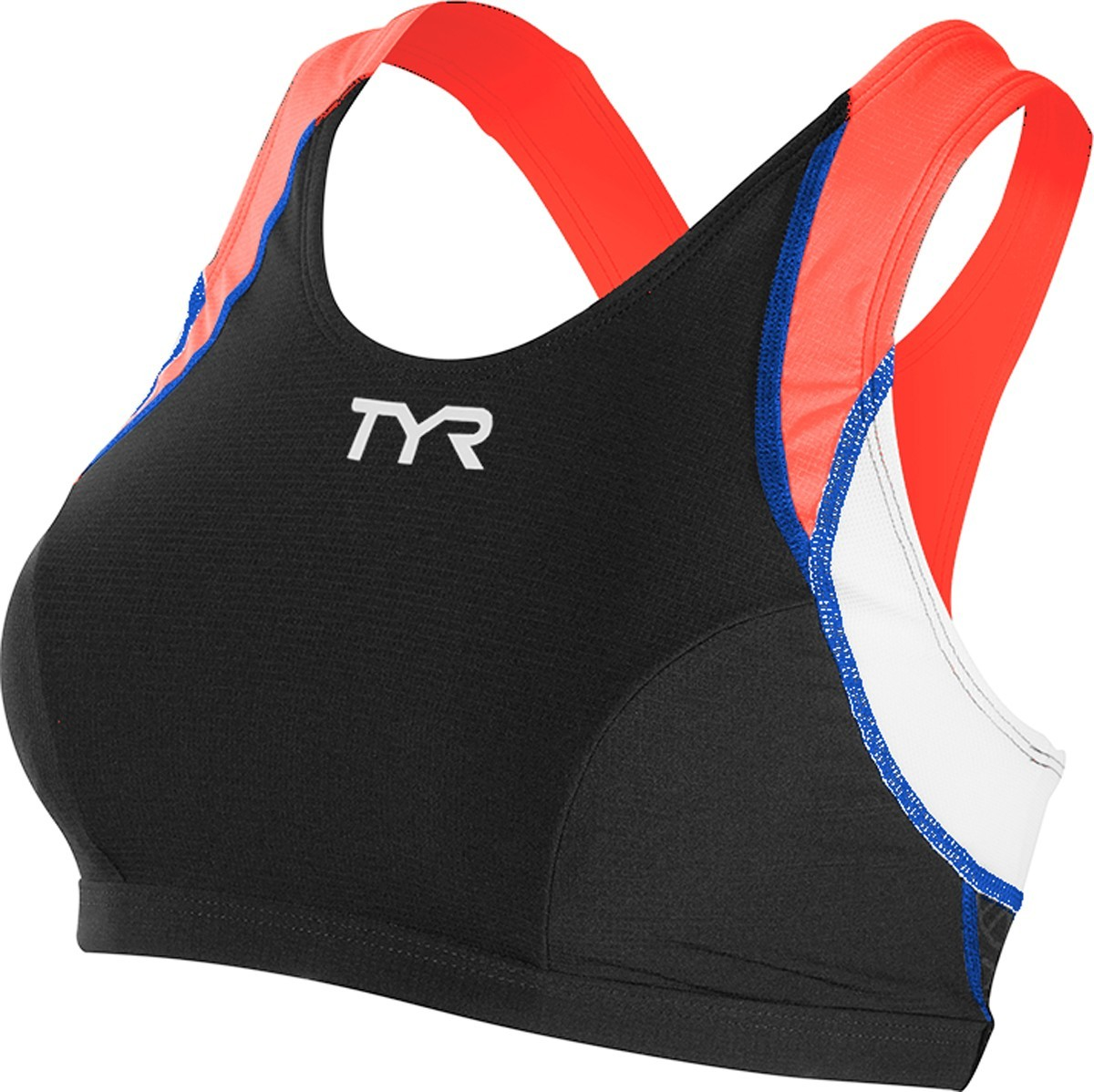 TYR Competitor Support Bra Triathlon Top Women's Size L Black Coral Blue U.S.A. & Canada