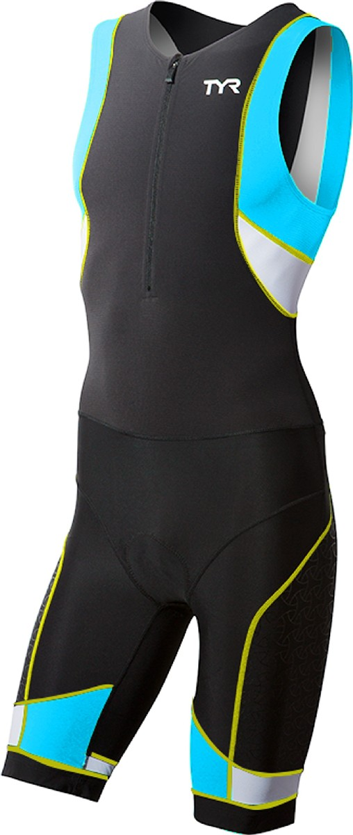 TYR Competitor Front Zipper Triathlon Suit Men's Size S Black Blue Yellow U.S.A. & Canada