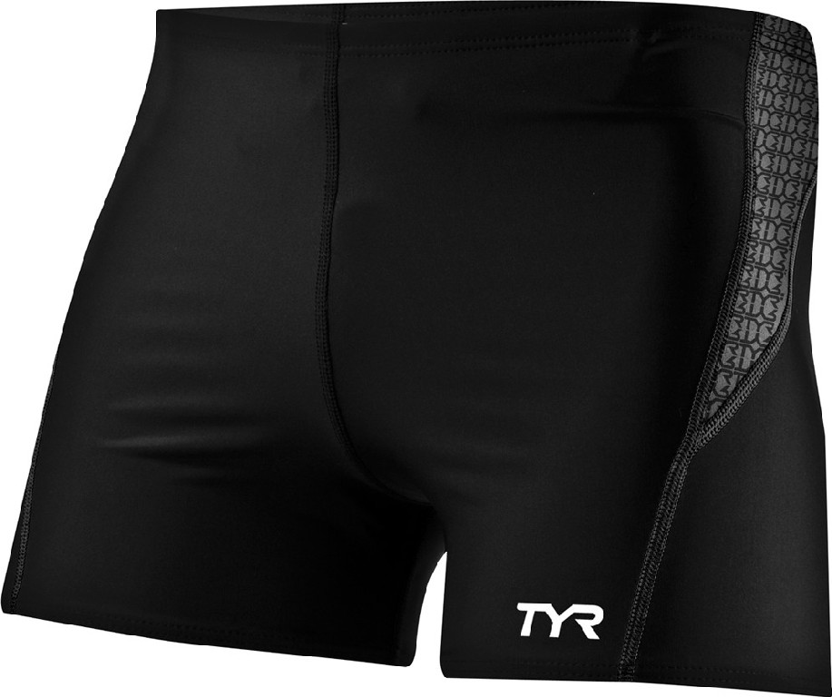 TYR Competitor Square Leg Swimsuit Men's Size S Black Grey U.S.A. & Canada