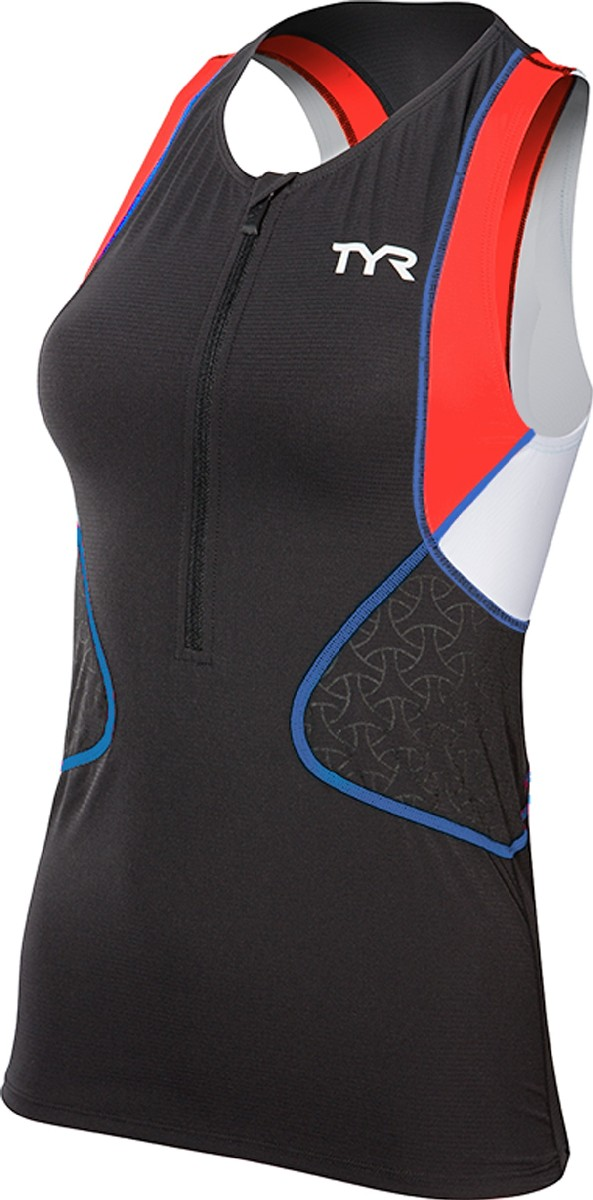 TYR Competitor Triathlon Singlet Women's Size S Black Coral Blue U.S.A. & Canada