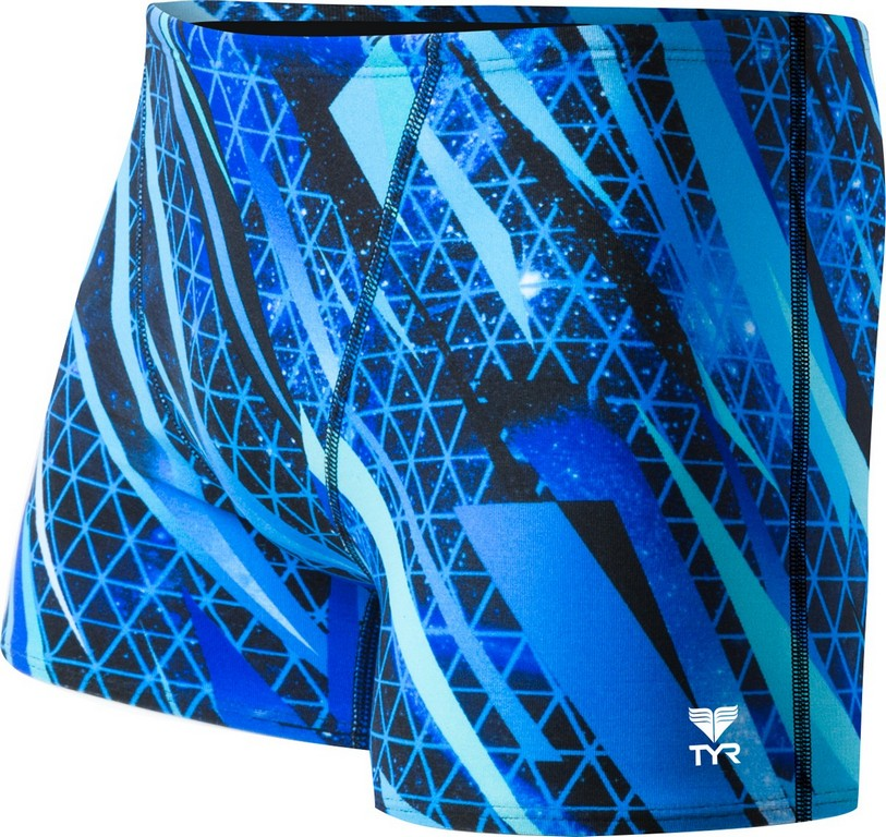 TYR Contact All Over Square Leg Swimsuit Men's Size 32 Blue U.S.A. & Canada