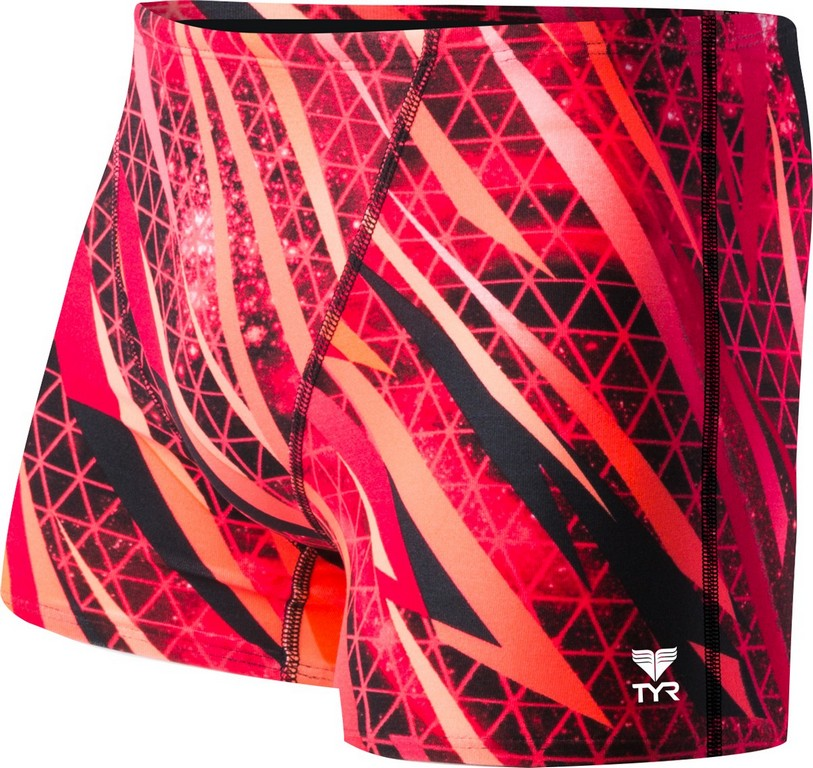TYR Contact All Over Square Leg Swimsuit Men's Size 26 Red U.S.A. & Canada