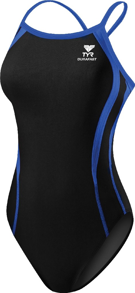 TYR Durafast Alliance Splice Diamondfit Swimsuit Women's Size 28 Black Blue U.S.A. & Canada