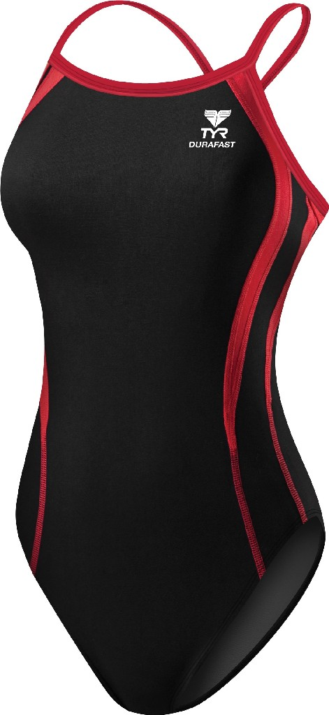 TYR Durafast Alliance Splice Diamondfit Swimsuit Women's Size 26 Black Red U.S.A. & Canada