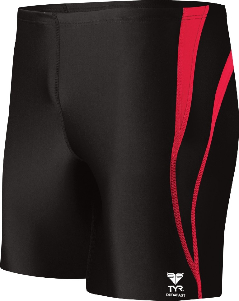 TYR Durafast Alliance Splice Square Leg Swimsuit Men's Size 28 Black Red U.S.A. & Canada