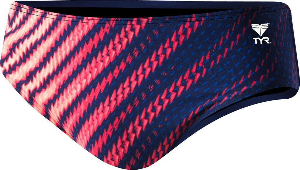TYR Echelon All Over Racer Swim Brief Men's Size 32 Navy Red U.S.A. & Canada