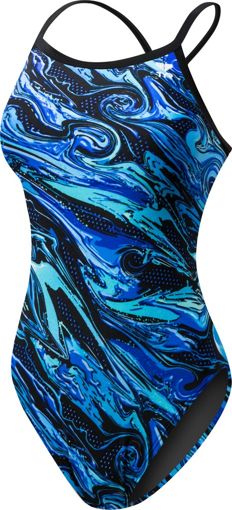 TYR Oil Slick Diamondfit Swimsuit Women's Size 34 Blue U.S.A. & Canada