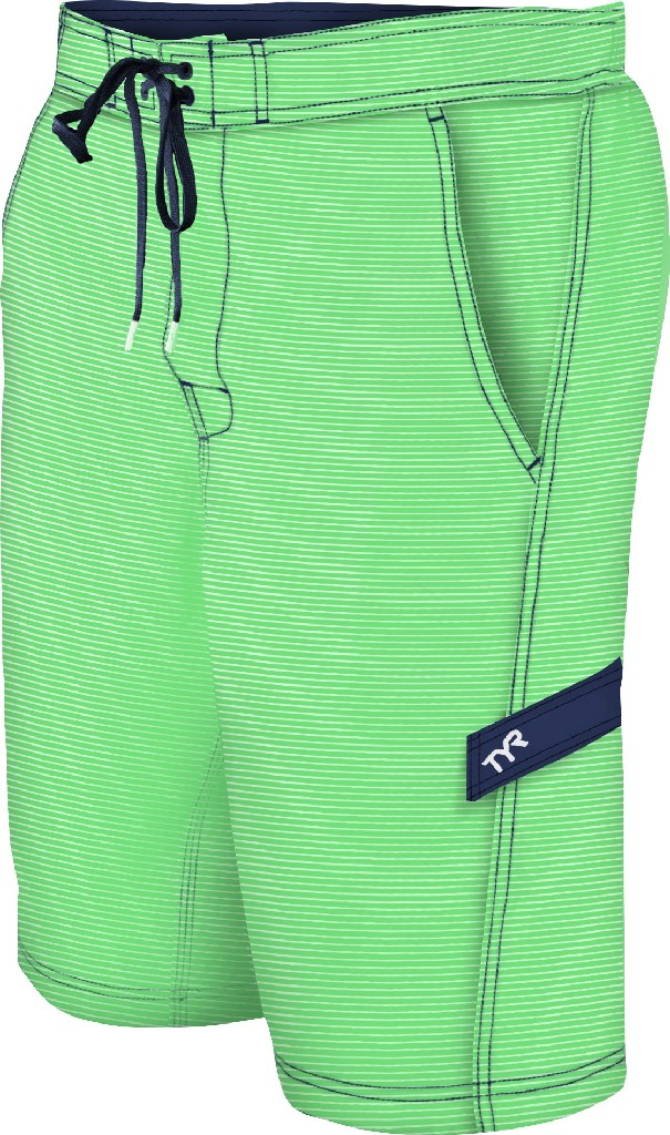 TYR Sailor Stripe Boardshort Men's Size L LightGreen Navy U.S.A. & Canada