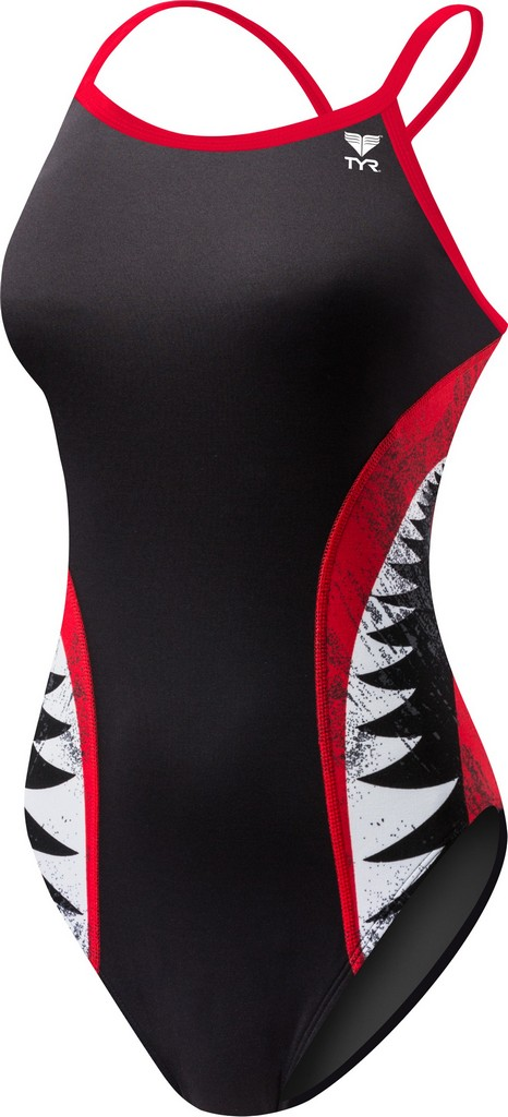 TYR Shark Bite Diamondfit Swimsuit Women's Size 28 Black Red U.S.A. & Canada