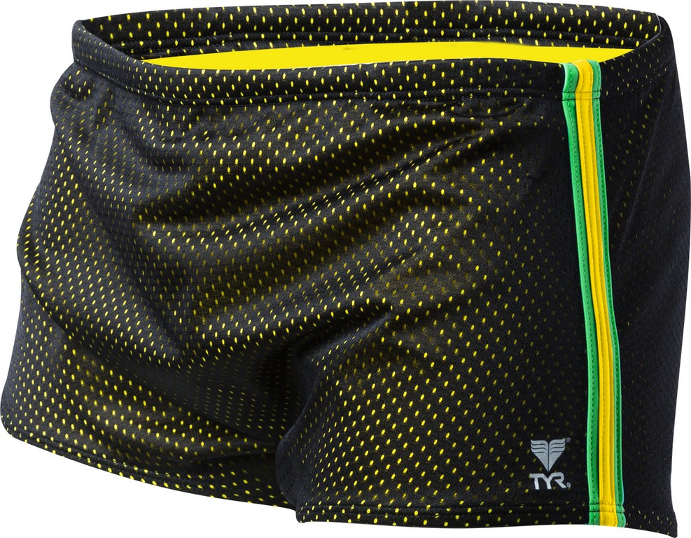 TYR Solid Brites Poly Mesh Drag Suit Men's Size 28 Black Yellow Green U.S.A. & Canada