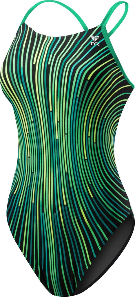 TYR Supersonic Diamondfit Swimsuit Women's Size 32 Green U.S.A. & Canada