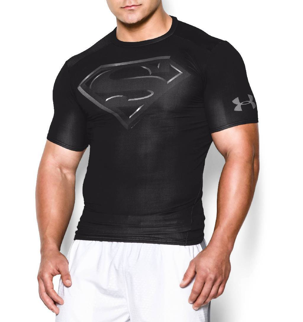 Under Armour Alter Ego Short Sleeve Compression Top Men's Size XL Black Silver U.S.A. & Canada