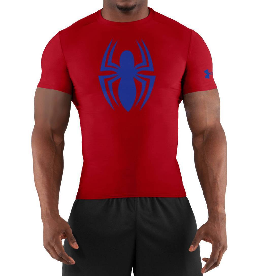 Under Armour Alter Ego Short Sleeve Compression Top Men's Size XL Red Royal U.S.A. & Canada