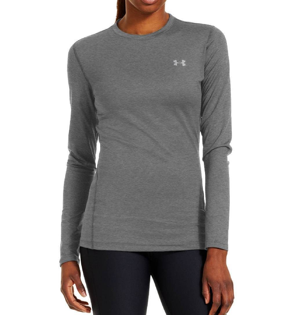 Under Armour ColdGear Fitted Long Sleeve Crew Base Layer Women's Size XS CarbonHeather Silver U.S.A. & Canada