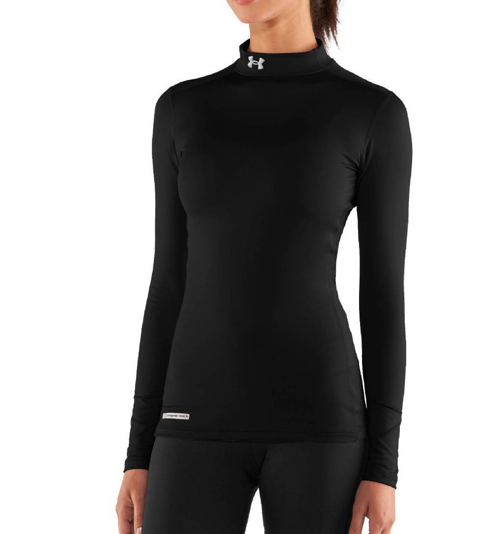Under Armour ColdGear Fitted Long Sleeve Mock Base Layer Women's Size L Black Metal U.S.A. & Canada