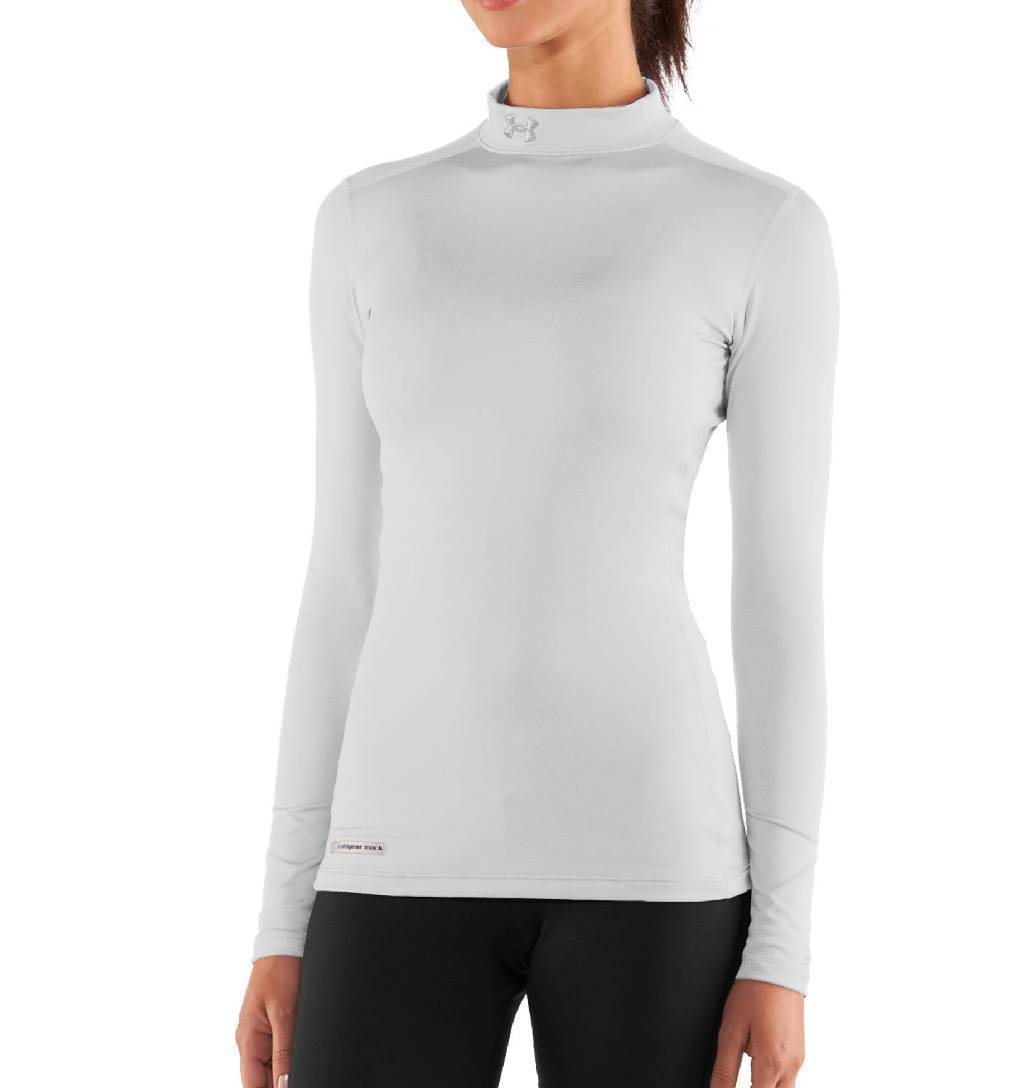 Under Armour ColdGear Fitted Long Sleeve Mock Base Layer Women's Size XXL White Metal U.S.A. & Canada