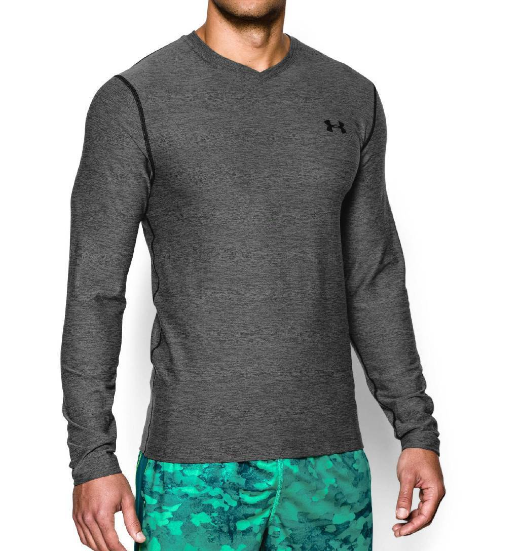 Under Armour ColdGear Infrared V Neck Workout Shirt Men's Size S CarbonHeather Black U.S.A. & Canada