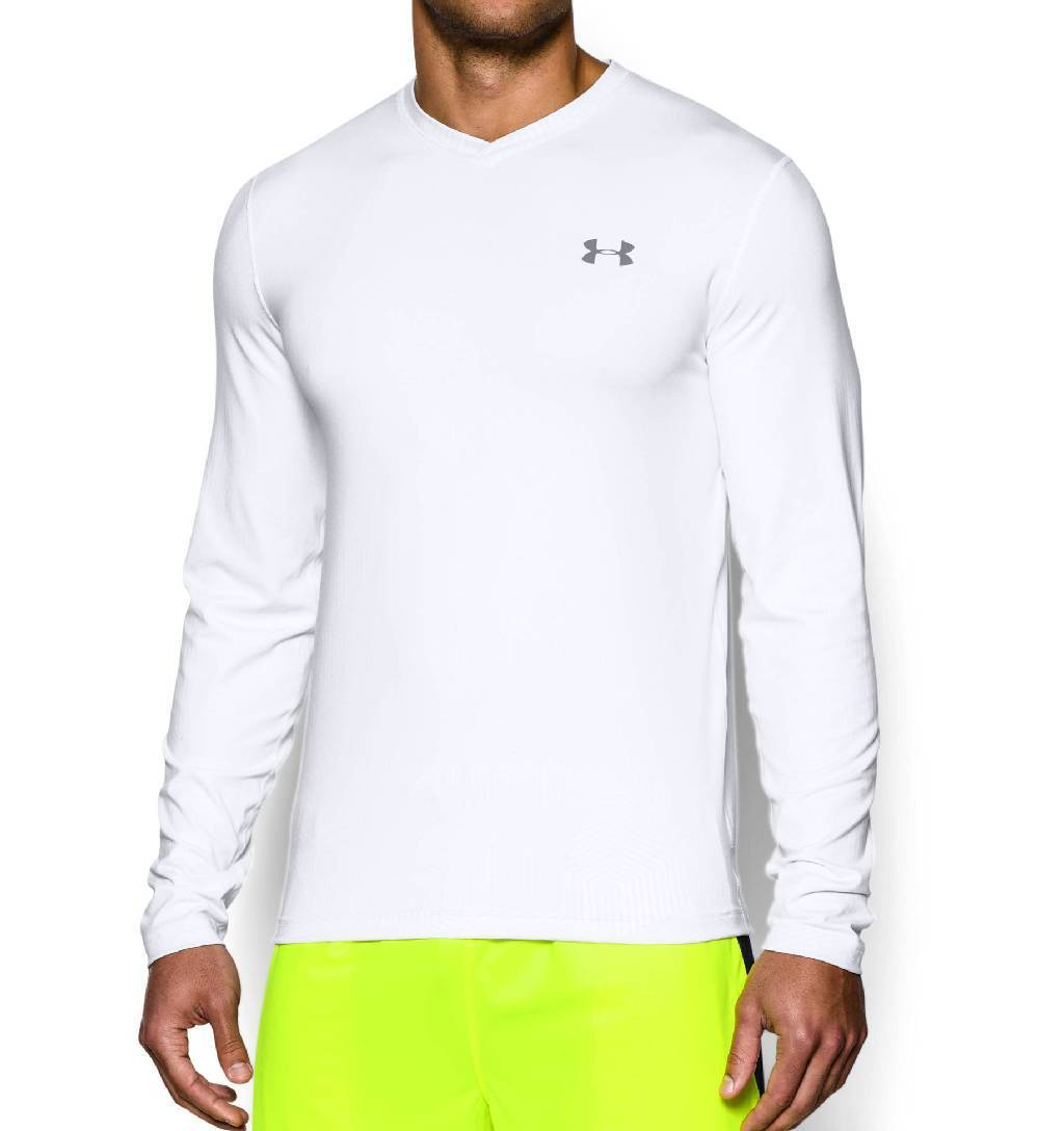 Under Armour ColdGear Infrared V Neck Workout Shirt Men's Size M White Steel U.S.A. & Canada