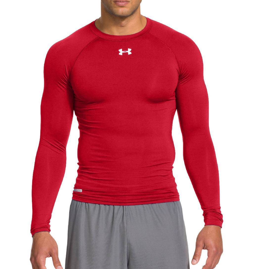 Under Armour HeatGear Sonic Long Sleeve Compression Top Men's Size XL Red White U.S.A. & Canada