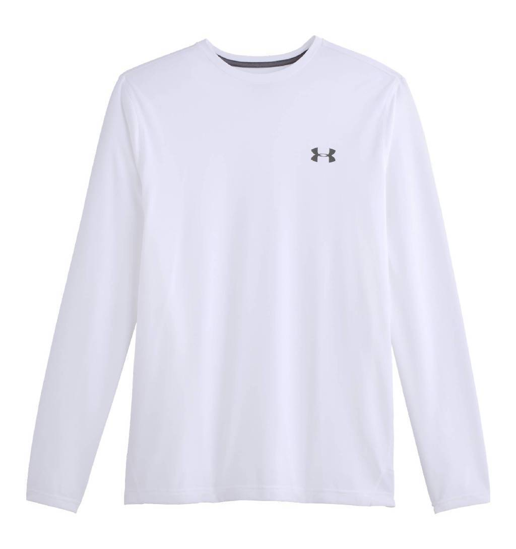 Under Armour Tech 2 0 Long Sleeve Workout Shirt Men's Size XXL White Graphite U.S.A. & Canada