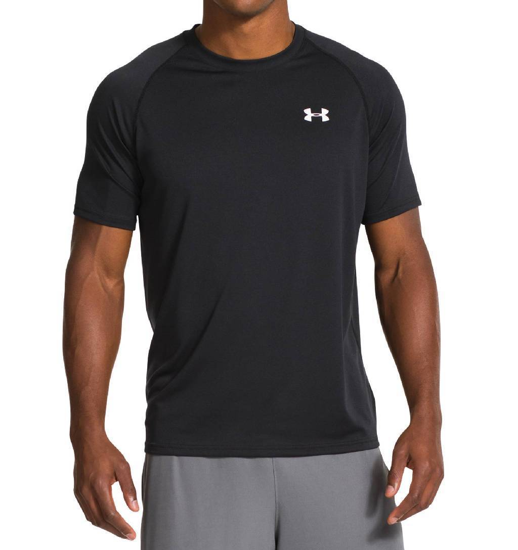 Under Armour Tech Short Sleeve Workout Shirt Men's Size S Black White U.S.A. & Canada