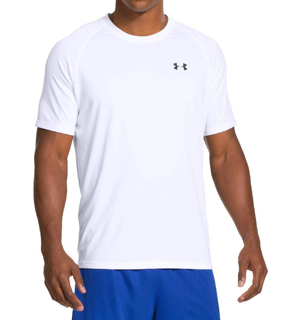 Under Armour Tech Short Sleeve Workout Shirt Men's Size S White Black U.S.A. & Canada