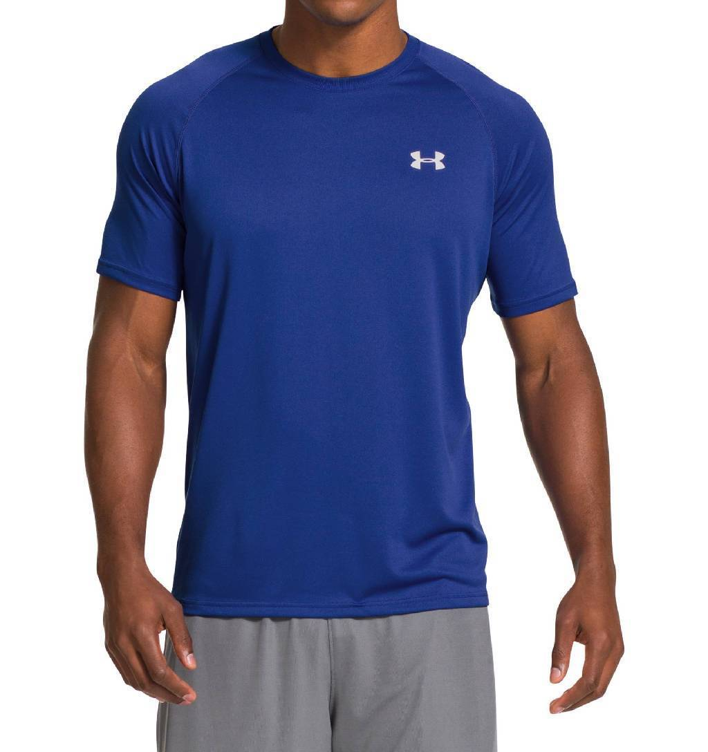 Under Armour Tech Short Sleeve Workout Shirt Men's Size L Royal White U.S.A. & Canada