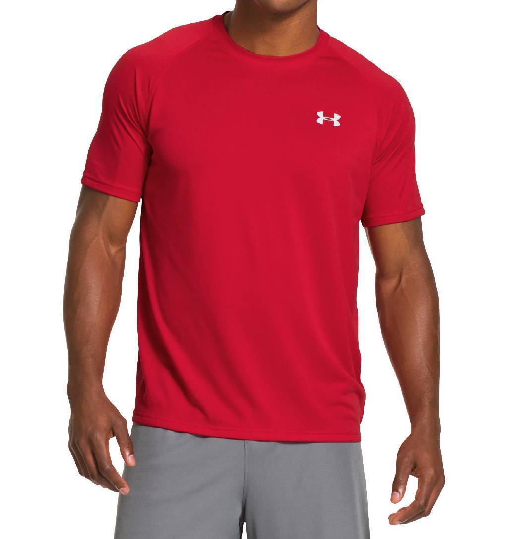 Under Armour Tech Short Sleeve Workout Shirt Men's Size XL Red White U.S.A. & Canada