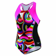 Speedo Circular Motion Side Splice Racer Back Swimsuit - Girl's