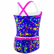 Speedo Spectacular Splatter 2-Piece Ruffle Tankini Swimsuit - Girl's