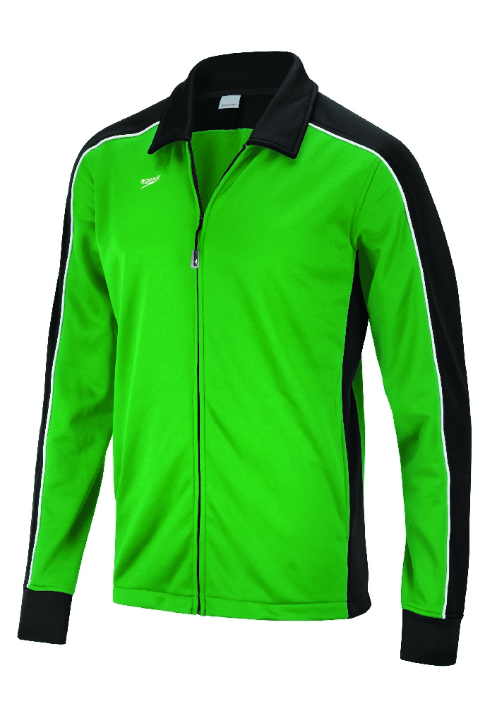 Speedo Streamline Warm Up Jacket Kid's Size L Black Green U.S.A. & Canada