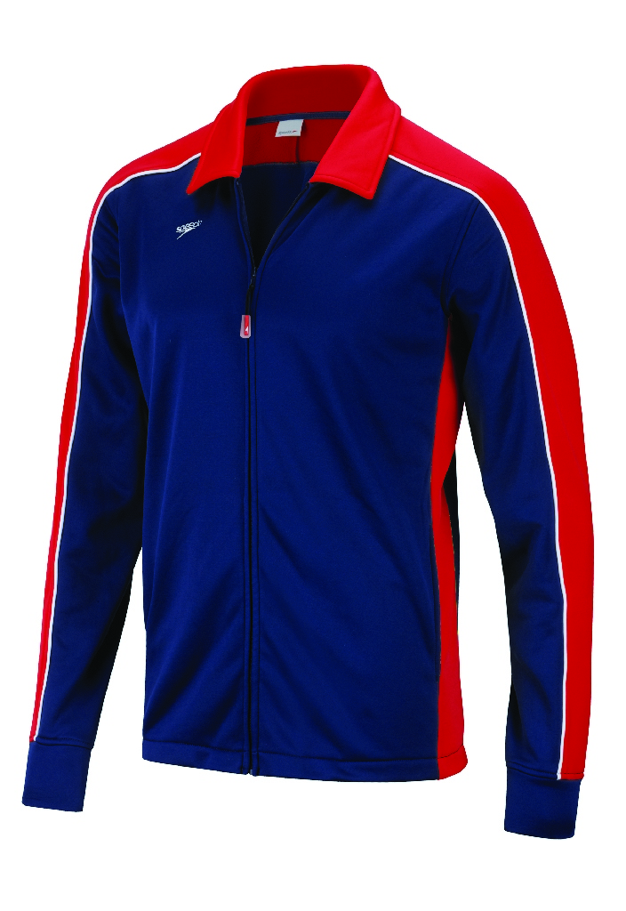 Speedo Streamline Warm Up Jacket Kid's Size L Red Navy U.S.A. & Canada