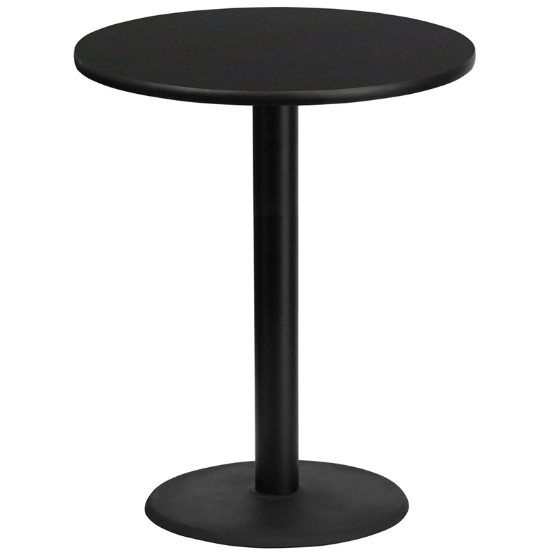 36 Round Black Laminate Table Top With 24 Round Bar