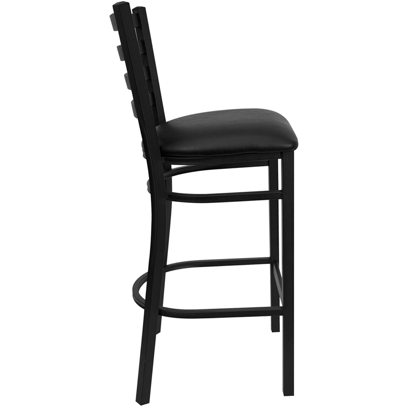 Black Ladder Back Metal Restaurant Barstool With Black
