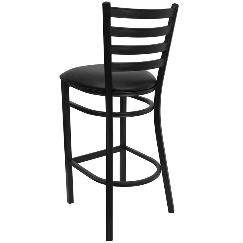 Black Ladder Back Metal Restaurant Barstool With