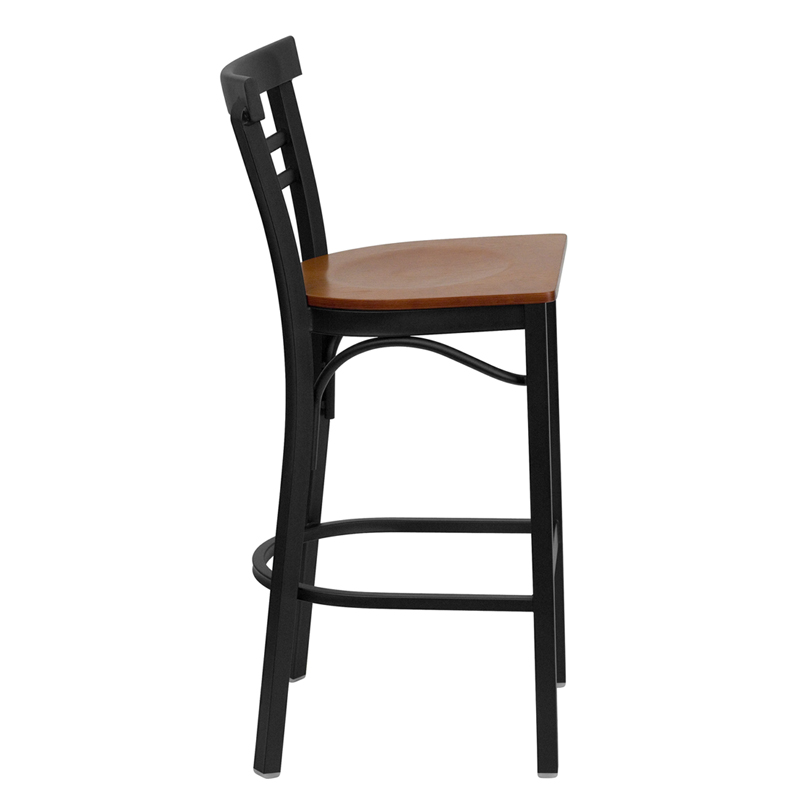 Black Ladder Back Metal Restaurant Barstool with Cherry  : black ladder back metal restaurant bar stool with cherry wood seat bfdh 6145cwbarlad tdr 20 from www.bestchiavarichairs.com size 800 x 800 jpeg 69kB