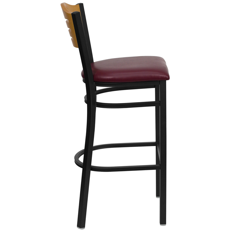 Black Slat Back Metal Restaurant Barstool with Natural  : black slat back metal restaurant bar stool with natural wood back burgundy vinyl seat bfdh 77524bybartals tdr 20 from www.bestchiavarichairs.com size 800 x 800 jpeg 70kB