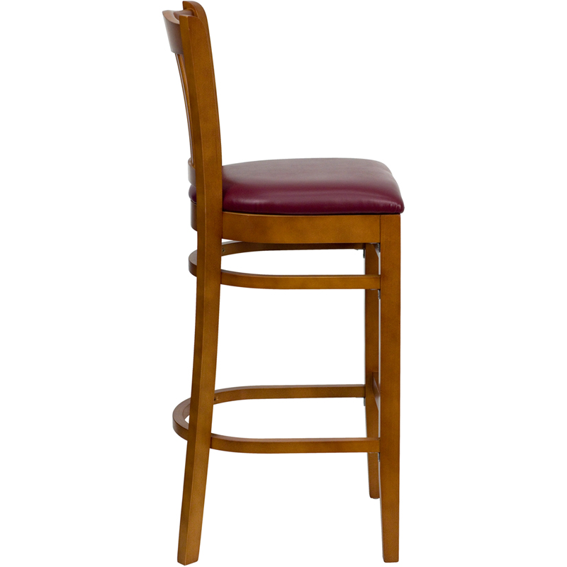 Cherry Finished Vertical Slat Back Wooden Restaurant  : cherry finished vertical slat back wooden restaurant bar stool with burgundy vinyl seat bfdh 8242cby bar tdr 20 from www.bestchiavarichairs.com size 800 x 800 jpeg 109kB