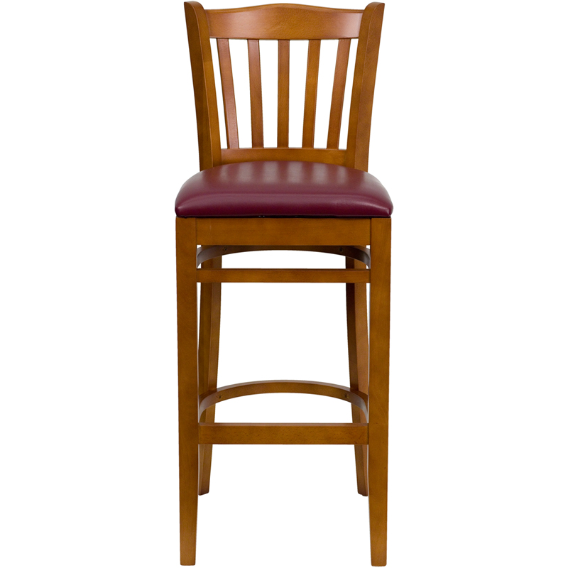 Cherry Finished Vertical Slat Back Wooden Restaurant  : cherry finished vertical slat back wooden restaurant bar stool with burgundy vinyl seat bfdh 8242cby bar tdr 24 from www.bestchiavarichairs.com size 800 x 800 jpeg 149kB