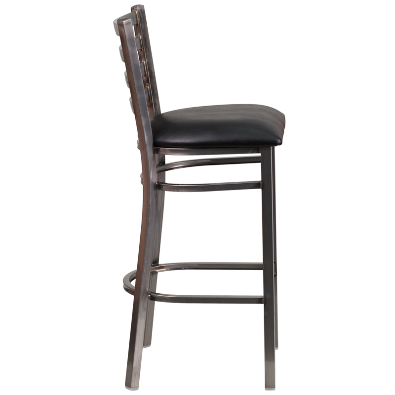 Clear Coated Ladder Back Metal Restaurant Barstool with  : clear coated ladder back metal restaurant bar stool with black vinyl seat bfdh 6147clrbkladbar tdr 6 from www.bestchiavarichairs.com size 800 x 800 jpeg 84kB