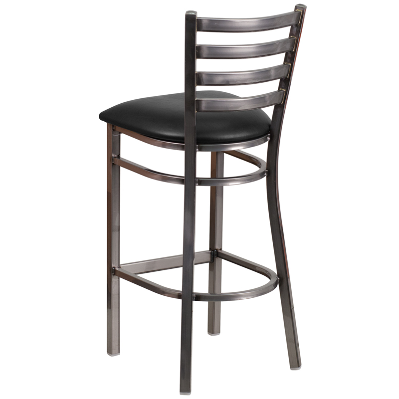 Clear Coated Ladder Back Metal Restaurant Barstool with  : clear coated ladder back metal restaurant bar stool with black vinyl seat bfdh 6147clrbkladbar tdr 8 from www.bestchiavarichairs.com size 800 x 800 jpeg 119kB