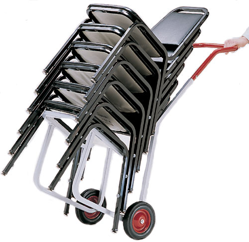 Split Pedal Stability Chair With Handles: Narrow Stacked Chair Heavy-Duty Frame Dolly With 4 Wheels, 550