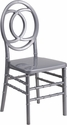 HERCULES INDESTRUCTO Series Silver Resin Royal Stacking Chair with Free Cushion [BH-ROYAL-SIL-GG]