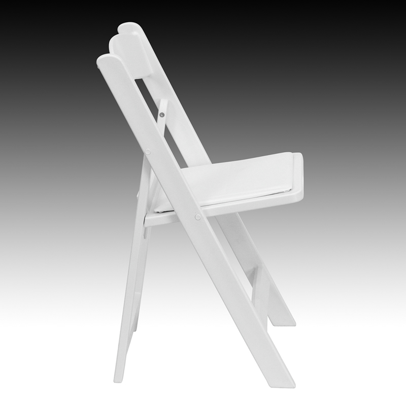 HERCULES Series 1000 lb Capacity White Resin Folding Chair with White Vinyl