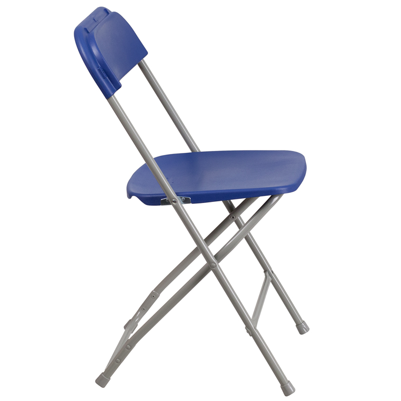 HERCULES Series 800 lb Capacity Premium Blue Plastic Folding Chair LE L 3 B