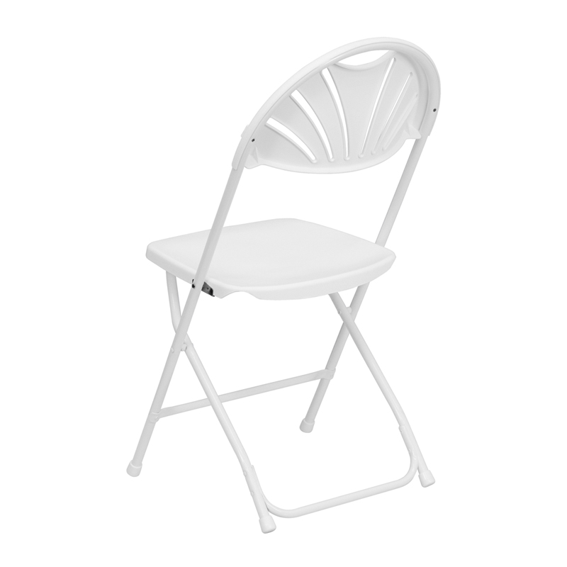 HERCULES Series 800 lb Capacity White Plastic Fan Back Folding Chair LE L 4