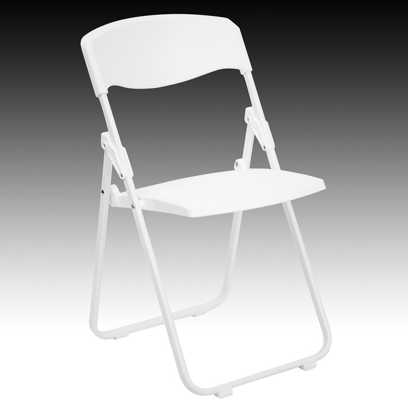 HERCULES Series 880 lb Capacity Heavy Duty White Plastic Folding Chair RUT
