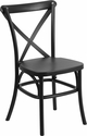 HERCULES Series Black Resin Indoor-Outdoor Cross Back Chair with Steel Inner Leg [LE-9-BK-GG]