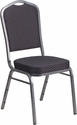HERCULES Series Crown Back Stacking Banquet Chair with Black Patterned Fabric and 2.5'' Thick Seat - Silver Vein Frame [HF-C01-SV-E26-BK-GG]