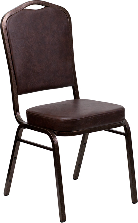 Hercules series crown back stacking banquet chair with brown vinyl and